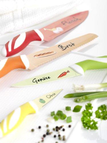 axentia Messerset mit Motiven, 4 - teiliges Messerset aus hochwertigem Edelstahl, Brotmesser, Fleischmesser, Gemüsemesser, Obstmesser, rostfreies Set für jeden Haushalt, leicht zu reinigen