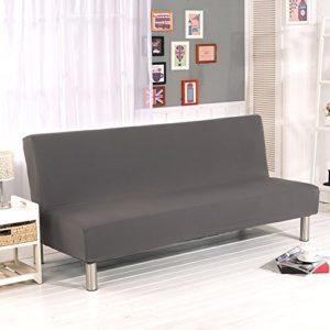 iShine Klappsofa Überwürfe Sofabezug Ohne Armlehnen Schlafsofa mit Stretch Sofahusse Slipcover Sofa Abdeckung in verschiedene Größe und Farbe-Grau