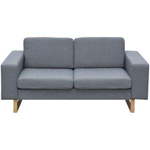 Festnight 2-Sitzer Sofa Stoff Polstersofa Loungesofa Couch Stoffsofa Wohnzimmer Sitzmöbel mit Holzrahmen 156x82x76cm Hellgrau
