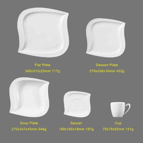 Malacasa, Serie Elvira, 60 tlg. Cremeweiß Porzellan Geschirrset Kombiservice Tafelservice im eleganten Design mit je 12 Stück Kaffeetassen, Untertassen, Dessertteller, Suppenteller und Flachteller für 12 Person