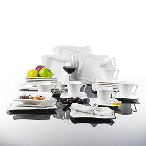 Malacasa, Serie Amparo, 30 tlg. Cremeweiß Porzellan Geschirrset Kombiservice Tafelservice im Fantasievollen Design mit je 6 Kaffeetassen, 6 Untertassen, 6 Dessertteller, 6 Suppenteller und 6 Flachteller