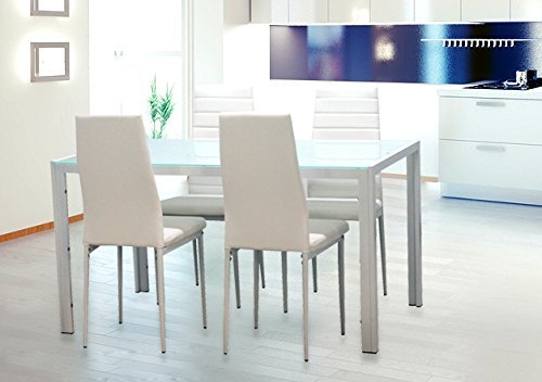 EBS Esstisch Stuhl Set Essgruppe Tischgruppe Esstischgruppe Sitzgruppe Esszimmergarnitur: Weiß Glas Metall Esstisch 4 Kunstleder Stuhl