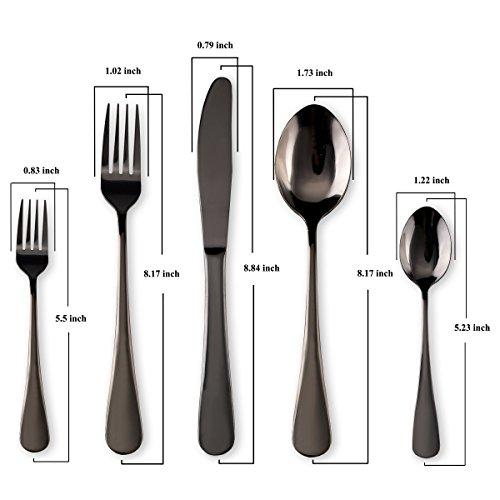 HOMQUEN Schwarzes Besteck/Besteck Set, 30 Stück Edelstahl Messer Gabel Löffel Set für 6 Personen (schwarz, 6 Sets)