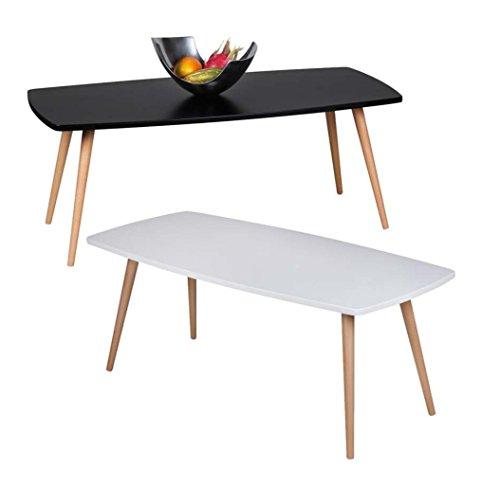 Design Couchtisch SKANDI 110 x 50 x 42 cm Form Rechteckig Skandinavischer Retro Look | Matt Lackierter Wohnzimmertisch mit Holz-Gestell | Wohnzimmer Möbel Tisch | Farbe: Weiß
