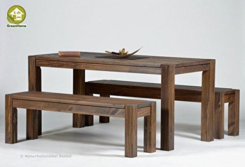 Sitzgruppe Garnitur mit Esstisch ,,Rio Bonito,, 140x80cm + 2 Bänke 120x38cm Pinie Massivholz, geölt und gewachst, Farbton Cognac braun, Optional: Ansteckplatten verfügbar