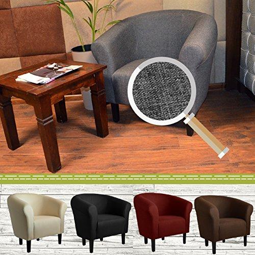 "FORTISLINE Clubsessel Loungesessel Cocktailsessel MONACO 2"" Sawanna Hellgrau W364 08"