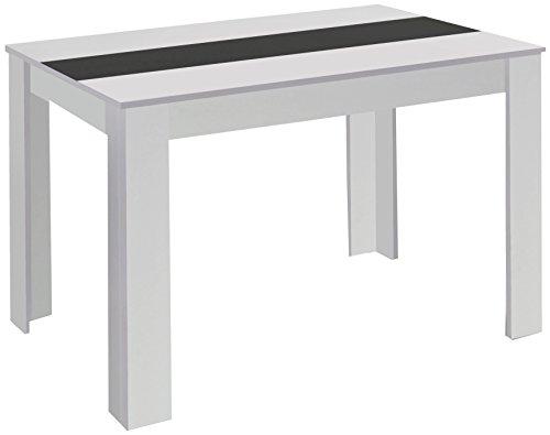 CAVADORE Esstisch NICO/Moderner, praktischer Küchentisch 140 x 80 cm in Melamin Weiß mit Mittelplatte in weiß oder schwarz/Esszimmertisch in Weiß/140 x 80 x 75 cm (L x B x H)