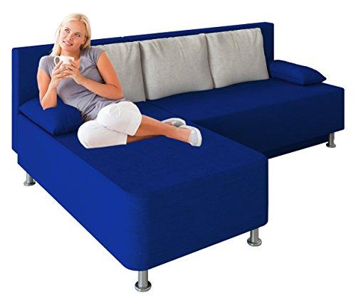 """VCM Ecksofa Schlafsofa Sofa Couch mit Schlaffunktion Gästebett Bettsofa Sofabett Blau 81 x 203 x 78 cm """"Magota"""""""