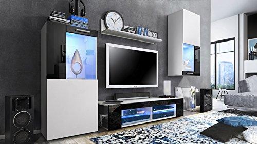 Wohnwand Anbauwand Movie, Korpus in Weiß matt/Fronten in Weiß matt und Schwarz Hochglanz mit blauer LED Beleuchtung