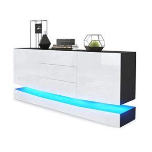 Sideboard Kommode City, Korpus in Schwarz matt / Fronten in Weiß Hochglanz inkl. LED Beleuchtung