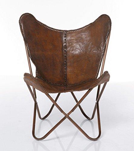 Kare Sessel Butterfly Braun, moderner Design Echtledersessel im Retrolook, extravaganter Relaxsessel im Vintagestyle, Designstuhl; (H/B/T) 87x80x76cm