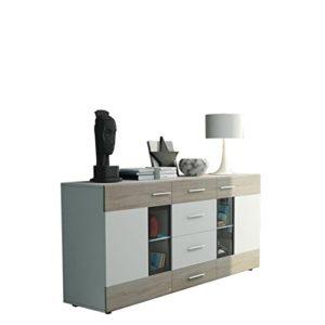 Kommode Twist Anrichte Highboard Sideboard Schrank Naturtöne Mehrzweckschrank Wohnzimmerschrank, Anrichte (mit weißer LED Beleuchtung, Weiß / Eiche Sonoma + Weiß)