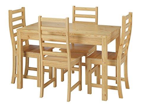 Erst-Holz® Schöne Essgruppe mit Tisch und 4 Stühle Kiefer Massivholz Natur 90.70-51 A-Set 21