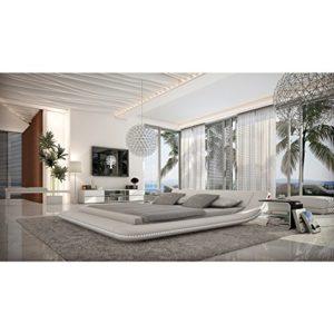Polster-Bett 160x200 cm weiß aus Kunstleder mit blauer LED-Beleuchtung | Otsuc | Das Kunst-Leder-Bett ist ein edles Designer-Bett | Doppel-Bett 160 cm x 200 cm in Leder-Optik, Made in EU