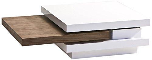 Robas Lund 59301WK1 Couchtisch Basel Hochglanz Lack kombiniert mit Nußbaumfunier, 105 x 29,5 x 70 cm, weiß