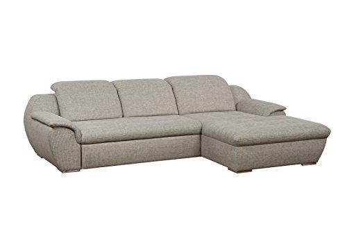 Cavadore Ecksofa Claanc mit großem Longchair und Bettfunktion / Eck-Sofa hellgrau mit ausziehbarem Bett und großer Liegefläche / Praktische Kopfteilverstellung / 277x77x177 cm (BxHxT) / Hellgrau