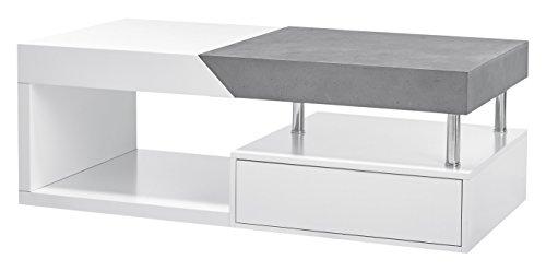 Robas Lund Couchtisch, Wohnzimmertisch, Hope, Betonoptik/weiß matt, 120 x 60 x 42 cm, 58237MB4