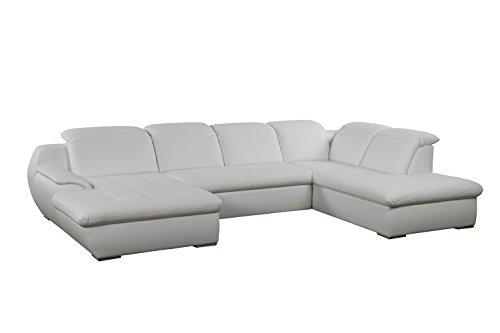 Cavadore Leder-Wohnlandschaft Claanc in Kunstleder mit großem Longchair und Bettfunktion / Weißes Sofa U-Form mit ausziehbarem Bett und großer Liegefläche / Praktische Kopfteilverstellung / Maße: 345x77x220 cm (BxHxT) / Kunstleder in weiß