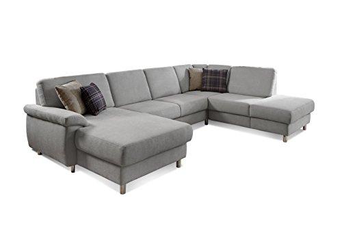 Wohnlandschaft Winstono mit Federkern und Longchair links / Sofa U-Form grau im modernen Design mit viel Platz für die ganze Familie / Größe: 317x88x220 (BxHxT) / Farbe: Hellgrau
