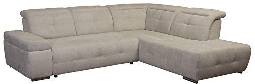 Cavadore Polsterecke Mistrel mit Ottomanen rechts / Eck-Couch mit Bettfunktion / Schlaffunktion / Kopfteilverstellung / Maße: 269 x 77-93 x 228 cm (B x H x T) / Farbe: Grau/Weiߟ