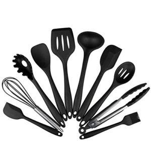 Marsoul Set von 10 Silikon Küchengeräte, hitzebeständig Spatel, Antihaft-Back-Werkzeuge Pinsel, Zangen, Schneebesen Kochen Gadgets,Hitzebeständige Koch- und Backzubehör (Schwarz 10pcs Set)