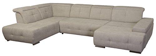 Cavadore Wohnlandschaft Mistrel / Sofa U-Form mit Kopfteilfunktion / XXL Sofalandschaft mit Longchair rechts / Mit Bettfunktion und großer Liegefläche (125 x 270) / Maße: 343 x 77-93 x 228 (B x H x T) / Farbe: Grau/Weiß