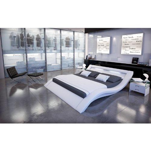 Polster-Bett 140x200 cm weiß aus Kunstleder mit LED-Beleuchtung | Kool | Das Kunstleder-Bett ist ein Designer-Bett | Doppel-Betten 140 cm x 200 cm in Kunstleder, Made in EU