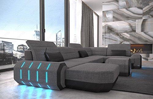 Stoff Wohnlandschaft Stoffsofa Roma U Form Leder Stoff Mix mit LED Beleuchtung