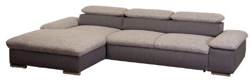 CAVADORE Polsterecke Valerie/Longchair mit Armteilfunktion-3er mit Armteilfunktion/283x66-88x174 cm/Bering 90 schwarz weiss-Inari 96 grau