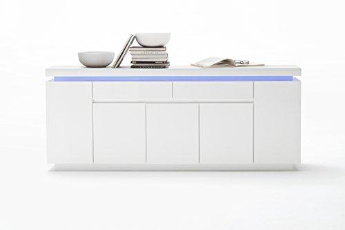 Robas Lund Sideboard, Kommode, Ocean, Hochglanz/weiß, LED, inkl. Fernbedienung, 200 x 40 x 81 cm, 48985WW8