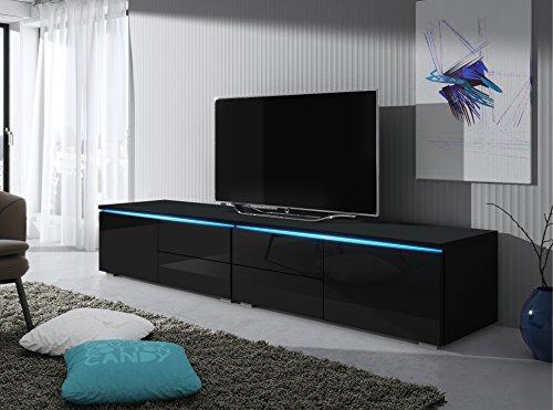 TV Schrank Lowboard Sideboard Tisch Möbel Board Luv Double mit LED (Schwarz Matt / Schwarz Hochglanz)