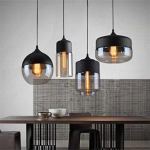 Ferand Modernes Glas-Leuchter-Deckenleuchte Pendelleuchte Coffee Bar Deco-Befestigung, schwarz, gerade