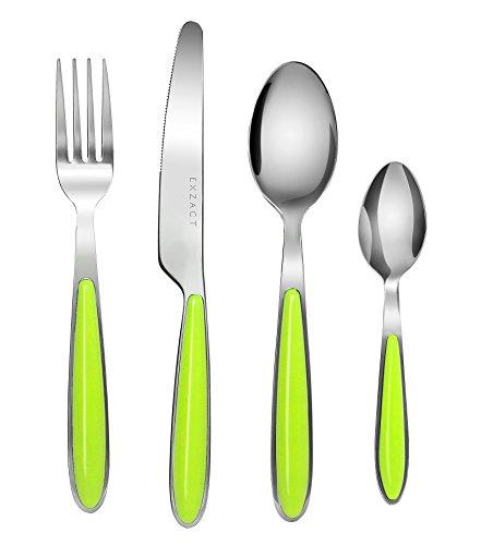 EXZACT EX07 - 24 teiliges Besteckset/ Edelstahl-Besteck - Rostfreier Stahl mit farbigen Griffen - 6 Gabeln, 6 Messer, 6 Esslöffel, 6 Teelöffel (Grün x 24)