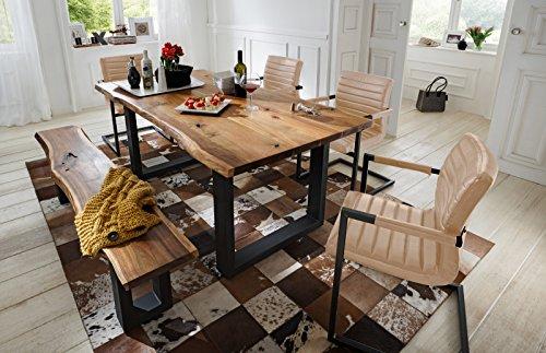 SAM 6 tlg. Essgruppe Quentin, je 1x Baumkantentisch 180x90cm & -Bank 180x40 cm, Akazie-Holz, 4X Schwingstuhl Parzivo in Silber