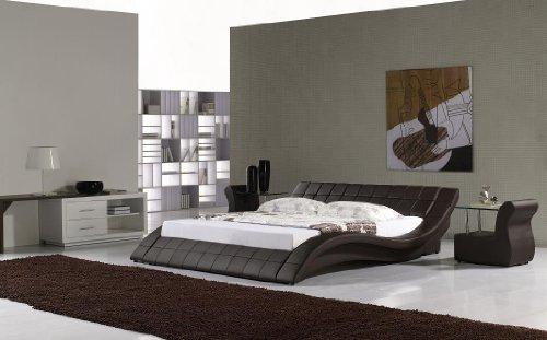 i-flair Polsterbett, Kunstlederbett R0M 180x200 cm Braun aus hochwertigem Kunstleder