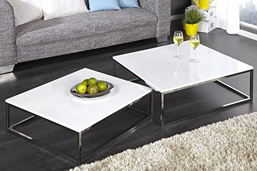 DuNord Design Couchtisch Beistelltisch 2er Set STAGE weiss hochglanz Chrom Design Tisch Set