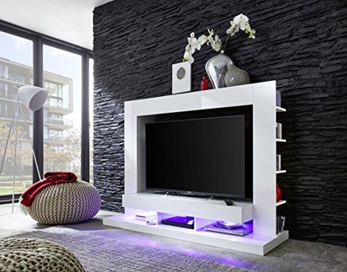 trendteam Wohnzimmer Anbauwand Wohnwand TTX05, 170 x 124 x 46 cm in Weiß Hochglanz  mit viel Stauraum