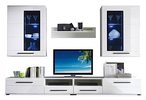 Nicht Zutreffend Wohnwand Anbauwand Wohnzimmerschrank 4-tlg. PALOMINO | Weiß Hochglanz | LED-Beleuchtung | Verglasung