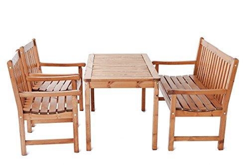 Ambientehome Sitzgruppe, 4-teiliges Set Garten Essgruppe Massivholz Finnland, braun, 120x64x90 cm, 90787