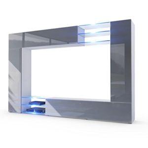 Wohnwand Anbauwand Mirage, Korpus in Weiß matt / Fronten in Grau Hochglanz inkl. LED Beleuchtung