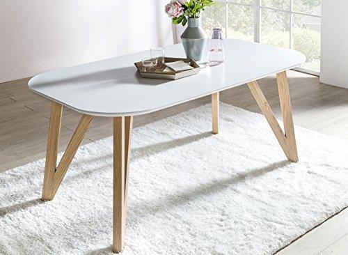 SalesFever® Esszimmertisch Aino, Küchentisch in matt-weiß, 160 x 90 cm, furnierter Esstisch, pflegeleichter & abgerundeter Holz-Tisch, FSC® zertifiziert