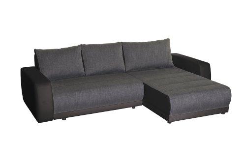 Polsterecke Castell/2er Bett-Longchair/263x82x171 cm/Modena grey-Bison black