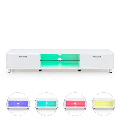 oneConcept Keira • Lowboard • TV Board • Fernsehschrank • Sideboard • LED Material : MDF • Schrankfach-Volumen: je 35 Liter, Fläche Glasablagen: 2160 cm² • LED - Farbwechselmodi • Fernbedienung • weiß