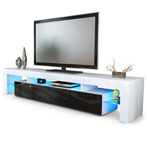 TV Schrank Lowboard Fernsehschrank Fernsehtisch Wohnzimmer Lima V2 in Weiß / Schwarz Hochglanz
