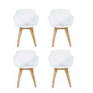 H.J WeDoo Lot von 4 Esszimmerstuhl, Retro Stuhl Küchenstuhl Armlehne mit solide Buchenholz Bein - Weiß