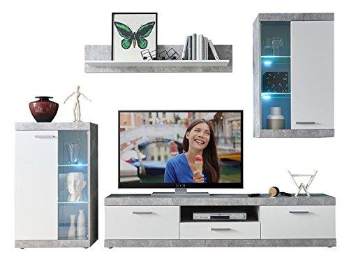 Wohnwand Anbauwand Wohnzimmerschrank 4-tlg. JAKE | Dekor | Grau-Weiß | Glas | LED-Beleuchtung