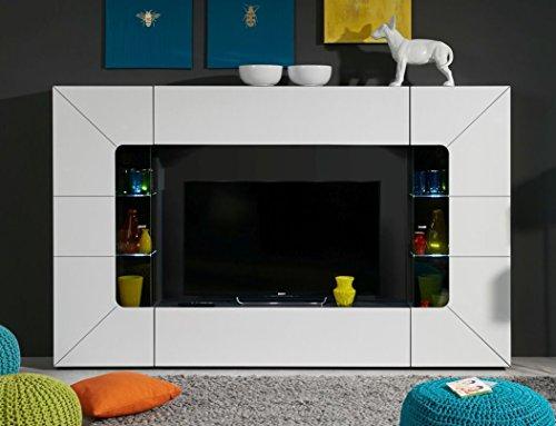 Wohnwand Sprint Media inkl. LED Beleuchtung Anbauwand weiß Hochglanz