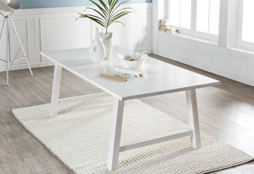 SalesFever® Holztisch Garland, Esszimmertisch aus Pappel-Holz, White-Wash Optik, 100 x 200 cm, massiver Küchentisch, pflegeleicht, A-Frame Gestell, FSC®-zertifiziert