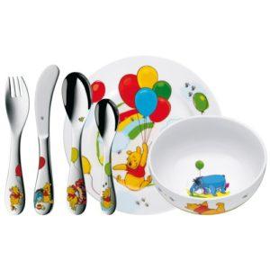 WMF Disney Winnie Pooh Kindergeschirr, mit Kinderbesteck, 6-teilig, ab 3 Jahren, Cromargan Edelstahl poliert, spülmaschinengeeignet, farb- und lebensmittelecht