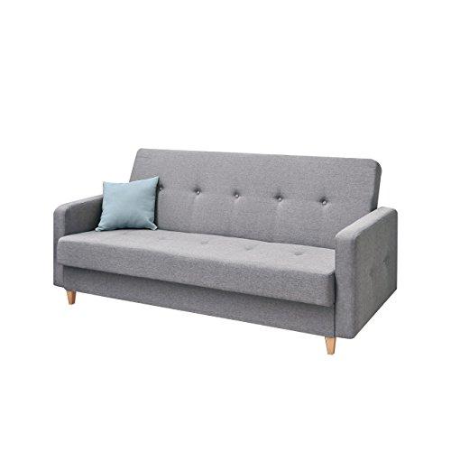 Design Schlafsofa Tango, Sofa mit Bettkasten und Schlaffunktion, Modernes Bettsofa, Schlafcouch, feiner Webstoff, Wohnlandschaft (Drago 135)